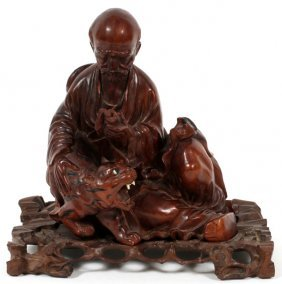 Chinese Hand Carved Teak Sculpture