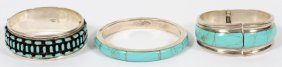 Sterling And Turquoise Bracelets, 3