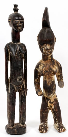 African Hand Carved Wood Fertility Figures C1950