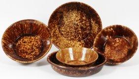 Bennington Pottery Serving Pieces 19th C. Five