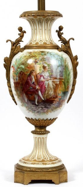 Sevres Hand Painted Porcelain Base Table Lamp