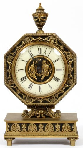 French Bronze Mantel Clock, Edward Caldwell & Co.