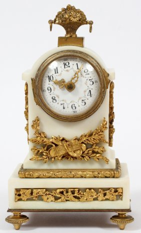 French Bronze-mounted Marble Desk Clock C. 1900