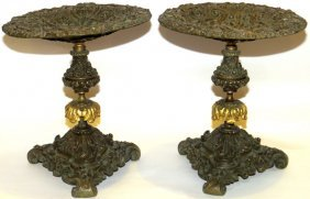 Continental Bronze Tazzas 19th C. Pair