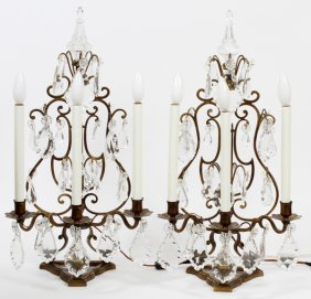 Crystal & Patinated Metal Three-light Sconces, Pair