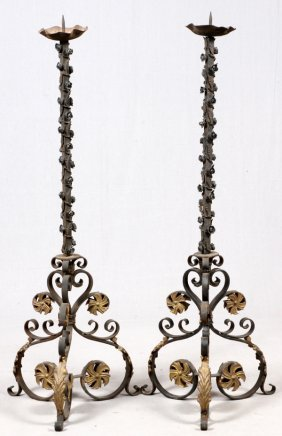 Wrought Iron Floor Standing Candle Prickets, Pair