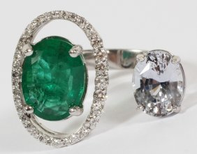 3.44ct Natural Emerald & 2.93ct Sapphire Ring