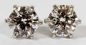 Platinum & 1ct Diamond T.w. Stud Earrings, Pair