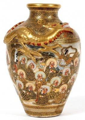 Japanese Satsuma Earthenware Vase, Meiji Period