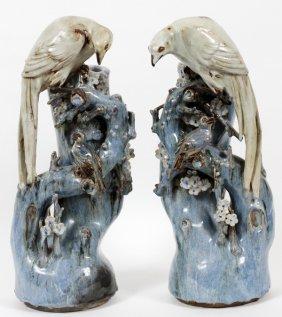 Japanese Glazed Pottery Figural Vases, Pair