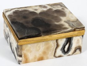 Onyx & Gilt Metal-mounted Hinged Box Early 20th C.