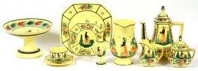 Quimper 'soleil' Pottery Dinner Set & Tableware