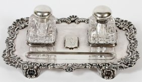 Sterling Inkstand W/ Bottles C. 1900