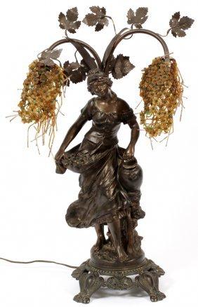 Art Nouveau Spelter Figural Table Lamp