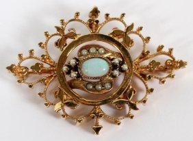 Antique Marquise Shape Opal & Seed Pearl Pin