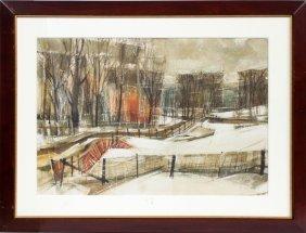 Holz Watercolor Winter Landscape 1965