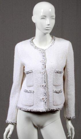 Chanel Black & White Cotton & Tweed Suit Jacket