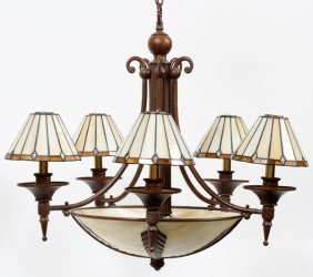 Art Deco Style Metal & Slag Glass Chandelier