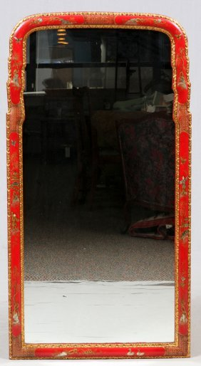 Chinoiserie Decorated Red & Gold Mirror