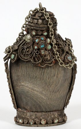 Chinese Silver-mounted Horn Snuff Bottle