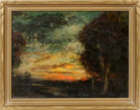 """James S. King Oil On Canvas """"close Of Day"""""""