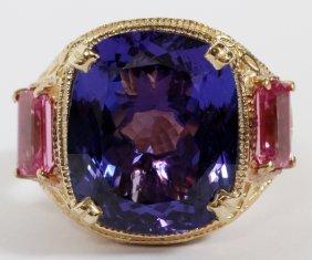 13.01ct Natural Tanzanite & Pink Sapphire Ring