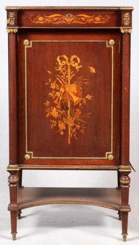 French Inlaid Music Cabinet Mahogany