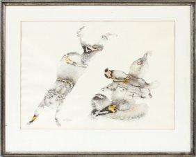 Sakti Burman Watercolor & Ink Painting