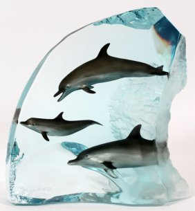 """Robert Wyland Lucite Sculpture """"dolphin Wonder"""""""