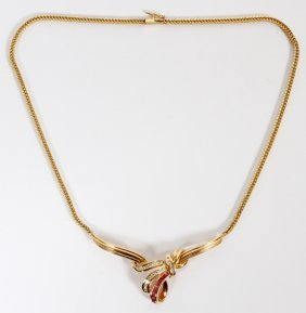 14 Kt Yellow Gold Necklace W/ Rubies And Diamonds
