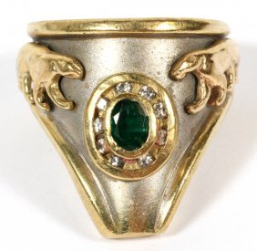 Emerald 18kt Yellow And White Gold Ring