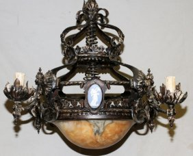 Antique Iron Alabaster And Jasperware Chandelier