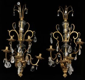 Crystal & Bronze Wall Sconces