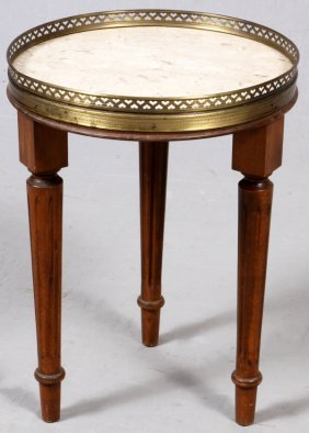 French Provencial Style Walnut & Marble Top Stand