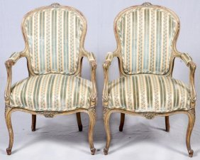 Louis Xv Style Open Arm Chairs, Pair