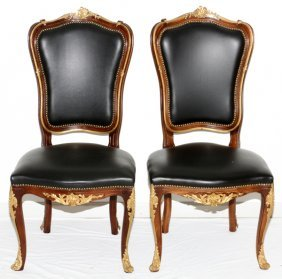 Louis Xv Style Leather And Mahogany Side Chairs