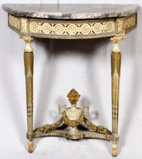 French Marble Top Console Table 19th C.