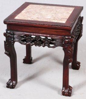 Chinese Carved Teakwood Marble Top Tables, Pair