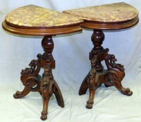 Walnut Hand Carved Console Tables, Pair