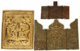 Russian Orthodox Brass Triptychs & Panel 3 Pieces