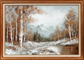Wallace Oil On Canvas Winter Mountain Landscape