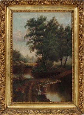 """Signed """"elb"""" Oil On Canvas C 1900"""