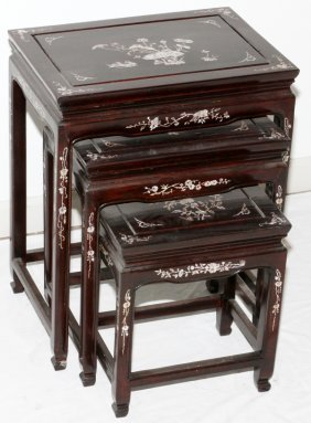 Chinese Rosewood And Mother Of Pearl Nest Of Tables