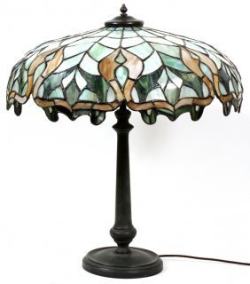 Leaded Slag Glass & Patinated Metal Table Lamp
