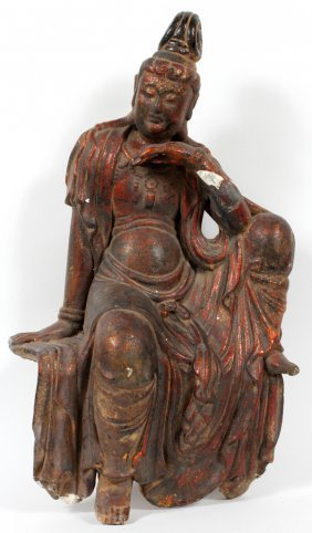 Chinese Lacquer Figure Of Seated Quan Yin