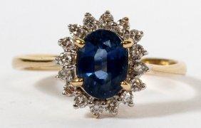1.01ct Natural Blue Sapphire & .30ct Diamonds Ring