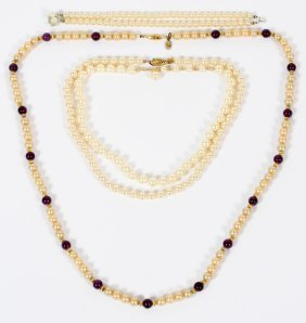 Pearl & Amethyst Necklaces & Bracelet 4 Pcs.