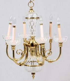 Six - Light Brass And Glass Chandelier