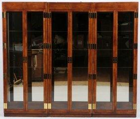 Henredon Mahogany Brass & Glass Cabinets 3
