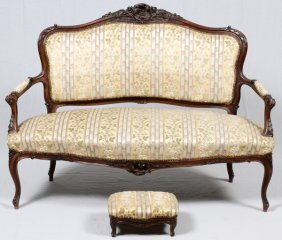 French Carved Walnut Settee And Footstool